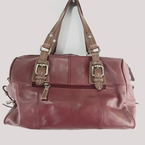 NINO BOSSI MERLOT SATCHEL LEATHER BAG